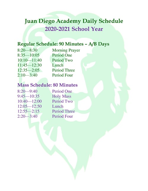 Daily Bell Schedule 2020-2021